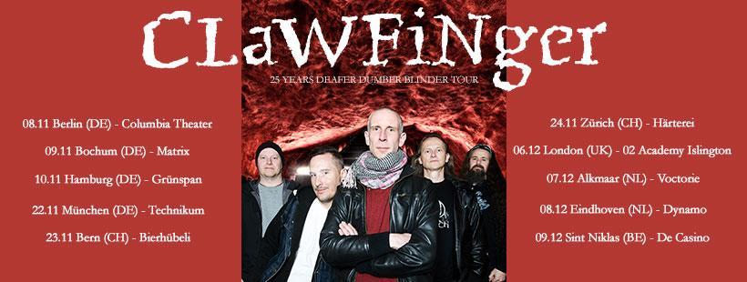 """CLAWFINGER – """"Deafer Dumber Blinder"""" – Tour im Herbst"""